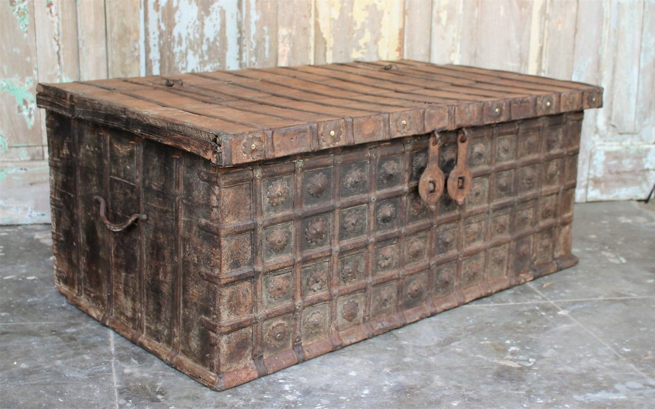Antique Dowry Chest Coffee Table Gujarat Sold