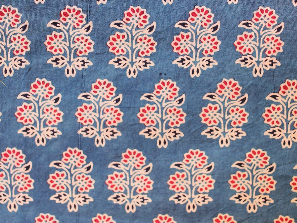 Indigo blue hand block printed fabric with red floral motifs for Fabric printing