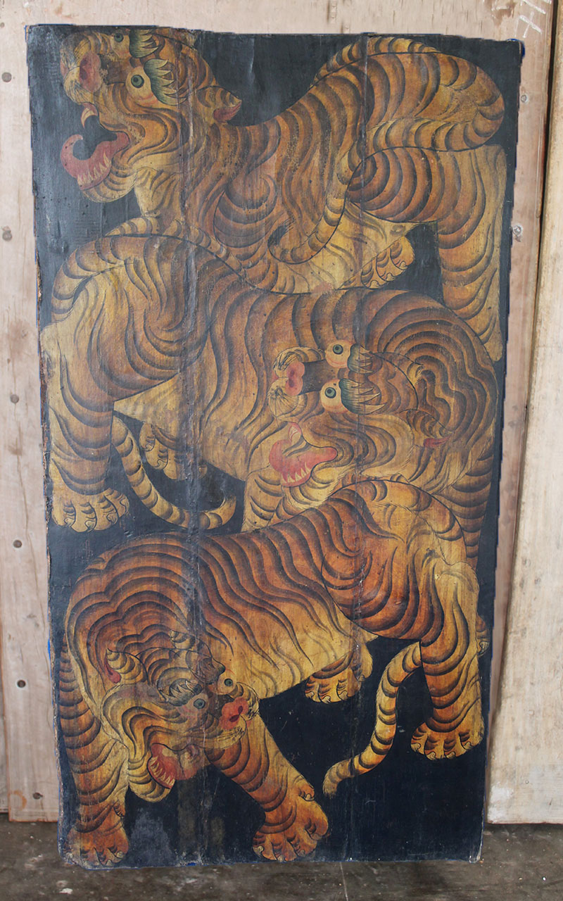 & Tibetan 3 Tiger Door Black Canvas - SOLD