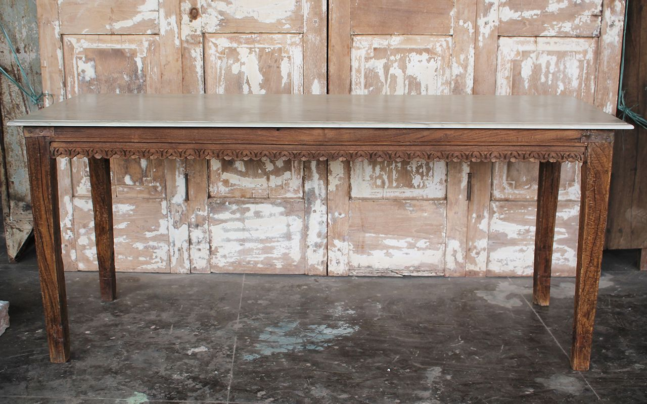 Antique Teak Wood Dining Table With Marble Top Rajasthan Sold
