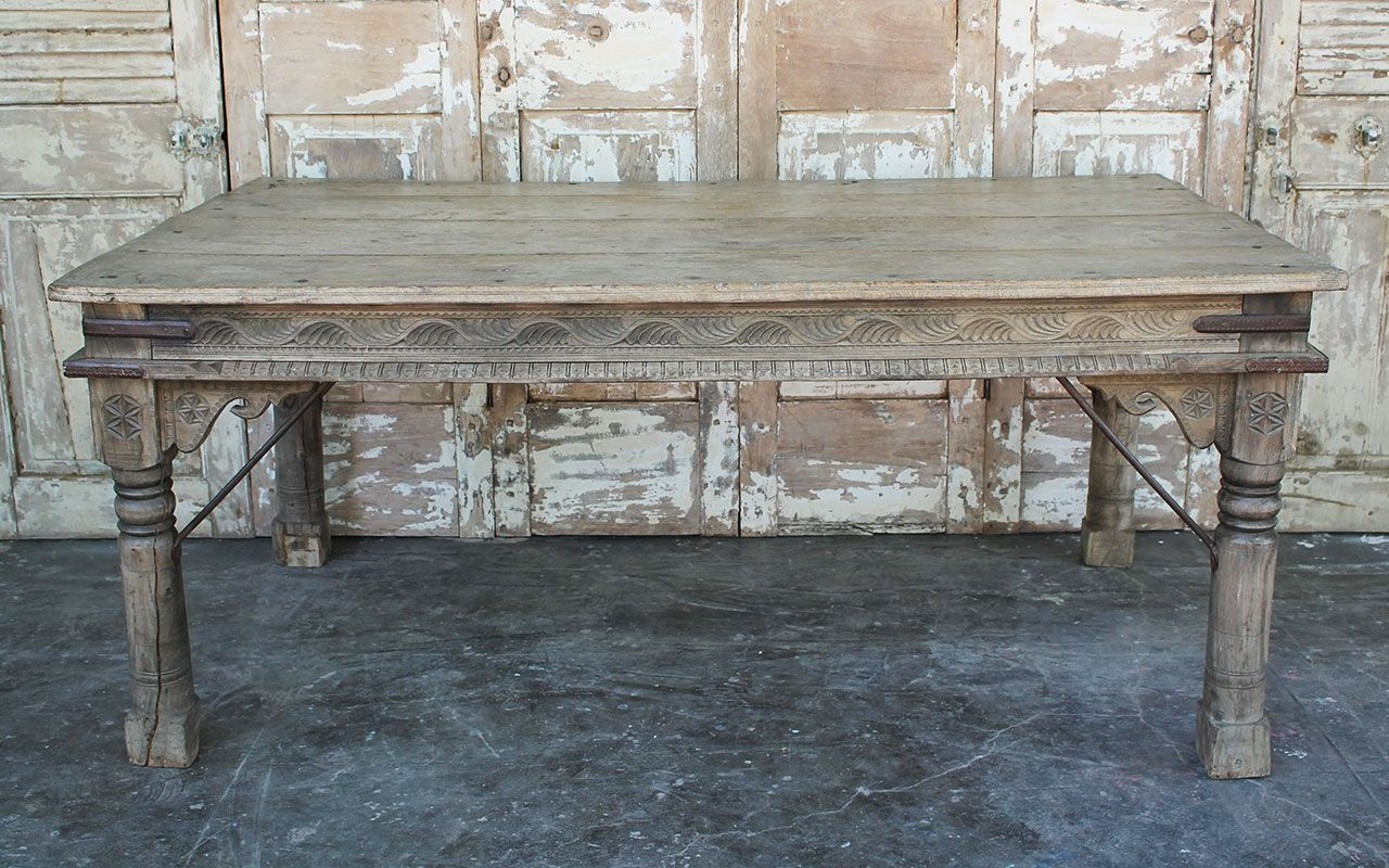 Antique Thakat Dining Table In Bleached Wood Thar Desert Rajasthan - Bleached wood dining table