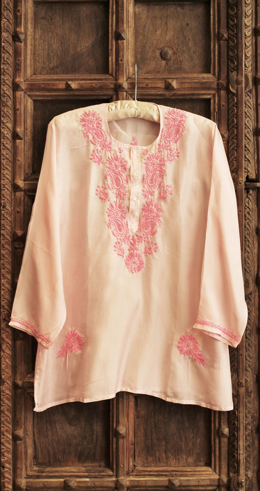 5efe9798d9 Hand Embroidered Pale Pink Silk Shirt
