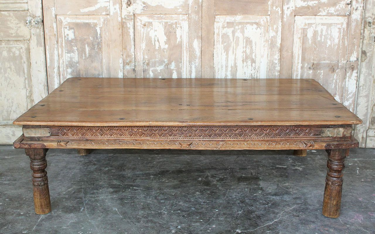 Temple Day Bed Coffee Table In Teak Wood From Hyderabad Circa 1890 Sold