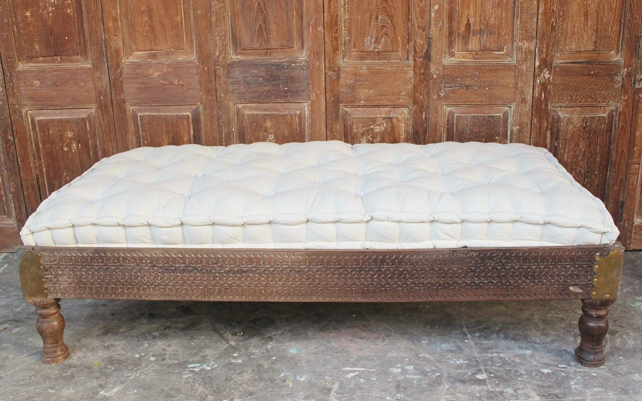 - Vintage Carved Day Bed With Cushion Mattress - SOLD