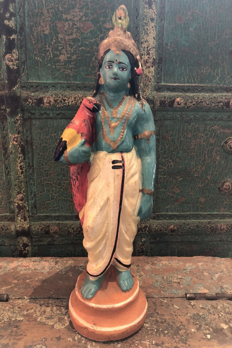 Vintage Painted Clay Statue of Lord Krishna, God of Love SOLD