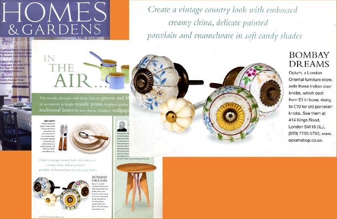 Press Cutting from Homes and Gardens magazine featuring Opium